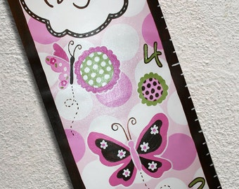 Personalized Canvas Growth Chart Custom Pink Butterflies Flowers