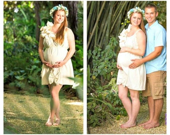 Destination Maternity Dress / Designer / Ruffled / Natural Ivory Photo Patisserie Knee Length Womens