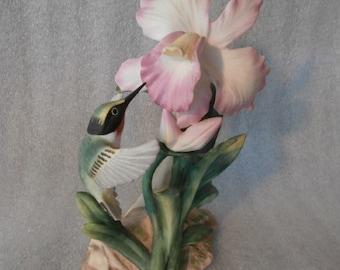 Figurine Home Interiors Hummingbird~Orchid  Figurine Masterpiece Bone China  1985