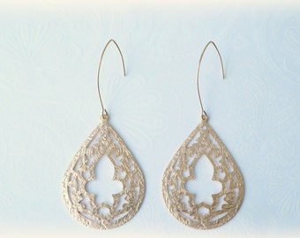 Long Gold Moroccan Teardrop Earrings