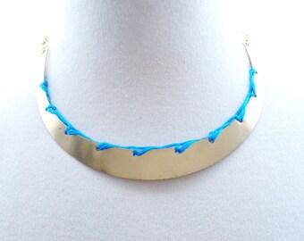 Brass Circular Braided Collar Necklace