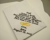 1 wedding handkerchief custom machine embroidered  with gift box