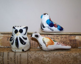 Mini Pottery Birds, Tonala Pottery, Tonala Owl, Folk Art Owl Bird, Bird Sculpture, 3 Bird Figurines, Vintage, Mexican Pottery, Colorful Bird