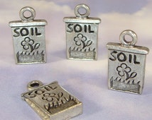 6 Soil Bag Charms Seed Bag Pewter (31023NE) Jewelry Supplies for Garden Nature Lovers Bulk Charms Seed Bag Spring Theme Pendants