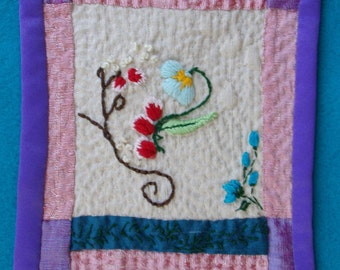 Miniature Embroidered Doll Quilt Dupioni Silk