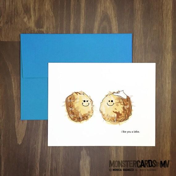 food pun card / i like you a latke / funny potato pancake greeting / hanukkah / chanukah / anniversary / love you / blank inside