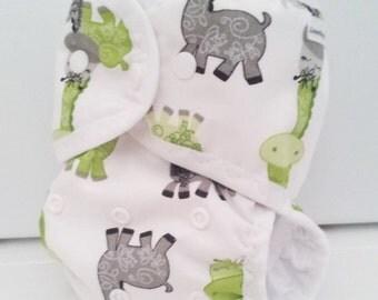 Giraffe  one size cloth diaper or cloth diaper cover, AI2 cloth diaper,