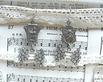 mismatch religious assemblage earrings catholic medal upcycle rhinestones