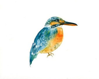 KINGFISHER Original watercolor painting 10x8inch