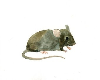 MOUSE Original watercolor painting 10x8inch