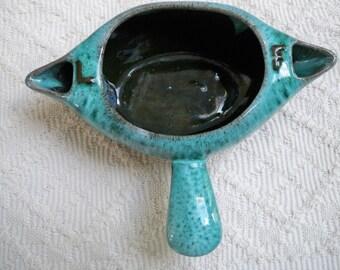 """Vintage Home Serving Ceramic Aqua Drip Glaze  """"Evangeline"""" Gravy Bowl Dish Double Spout 1960's"""