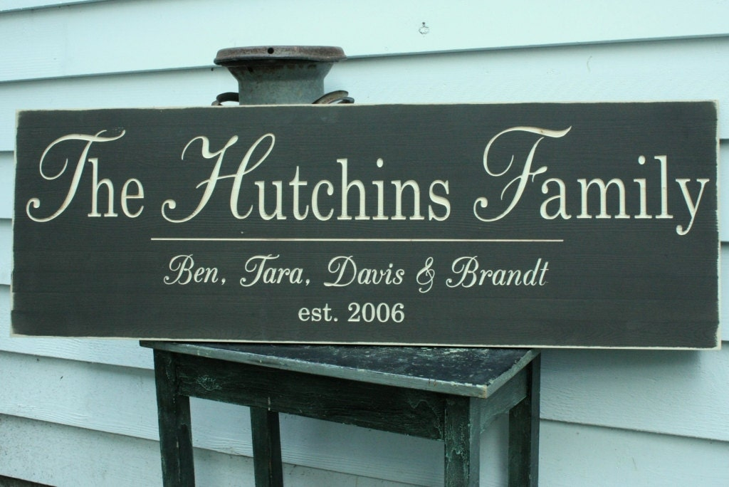 Last Names: Large Elegant Last Name Sign With Quote Or First Names