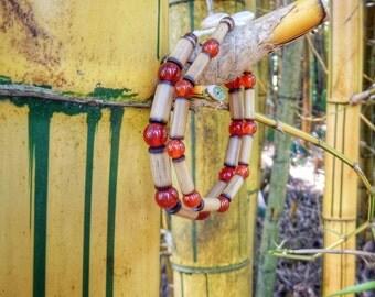 Kauai Bamboo Jewelry - Hawaiian Bamboo and Carnelian Bracelet