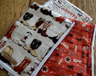 Western Baby Burp Cloths Cowboy Cowgirl Orange Brown  Set of 3 SPECIAL ORDER ITEM