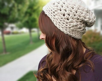 Crochet Pattern PdF  - Crocheted Chunky Mesh Slouchy Hat - Women's beanie, teen hat, instant download You CaN sell finished pieces