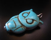 Owl Pendant, Turquoise Howlite Owl Pendant, Owl Jewelry, Owl Necklace, Blue Owl, Sterling Silver Wire Wrapped Owl, Pumpkin Beads Jewelry