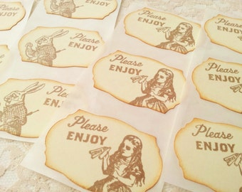 Alice in Wonderland Stickers Mad Hatter Tea Party Birthday Party Favor Bag Seals Set of 12