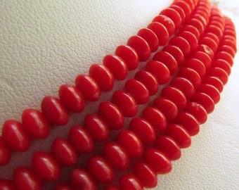 Dyed Red Coral Rondelles 5mm by 3mm 5 inches (12.5cm)