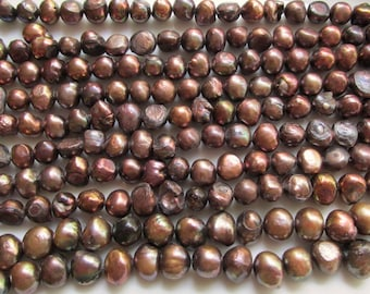 Antique Bronze Flat Sided Potato Freshwater Pearls 6-9mm 14 inch strand (38cm)