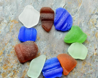 Seaglass Bottle Lips from Puerto Rico. Cobalt Blue, Seafoam, Lime Green, White, Brown. 10 Pieces. Undrilled. Lot EB1