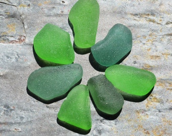 Seaglass. Undrilled Charm Sized. Teal & Green. Genuine, Authentic. 7 Pieces. Lot H10