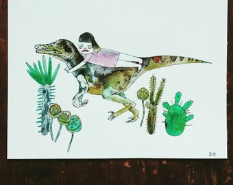 girl & dinosaur (original art on paper)