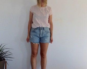 White Blouse Vintage Short Sleeve