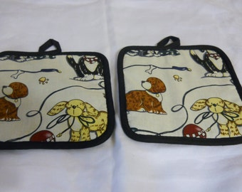 Potholders Hot Pads Puppies set of 2