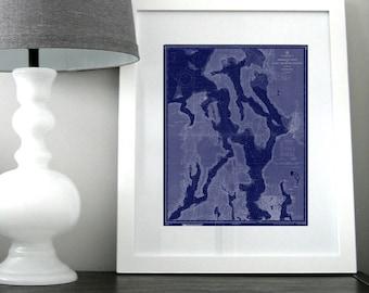 Puget Sound Seattle Nautical Chart Map 1959 Dark Blue DIGITAL PRINT 16 x 20, Map Art Prints, Printable Art, Chart Maps, Beach Decor