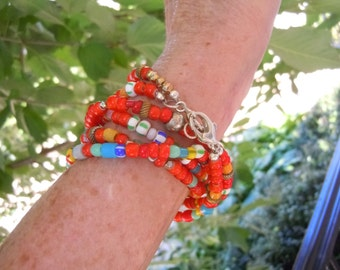 African wedding and trade beads wrap bracelet