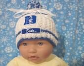 Custom handmade knit DUKE University baby Hat 0-12M-cute gift photos