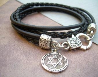 Leather Bracelet with Star of David Charm, Star of David, Judaica, Womens Bracelet,Religious Gift, Mens Bracelet, Jewish Gift