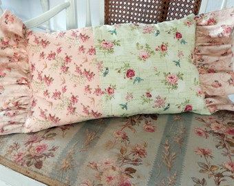 Pink Roses Blue Birds Greens and Pinks and Ruffles are so Cottage Pillow