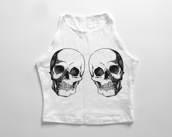 SKULL TWINS | White high neck crop top