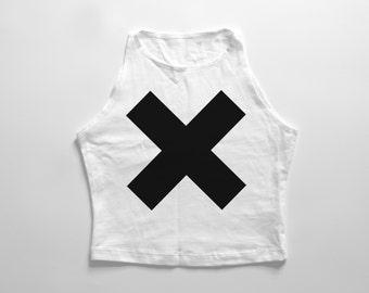X | White high neck crop top