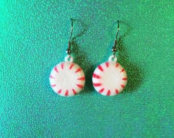 Sparkly Starlight Peppermint Swirl Earrings (Surgical Steel Hooks)