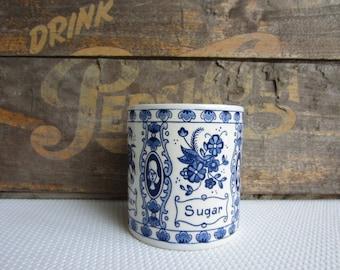 Vintage Blue Delfts Sugar Canister Farmhouse Country Cottage Decor
