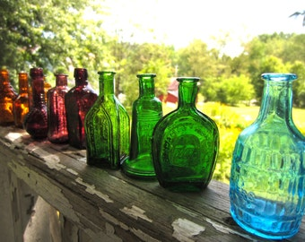 Vintage Miniature Bottle Collection Set of 12 Amber Grape Blue Green made in Taiwan