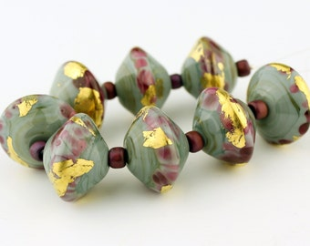 Lampwork Glass Bead Set, SRA Saucer Bicone Green Blue Purple Gold 'Autumn Colors'