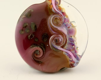 Lampwork Bead, Glass Lentil Focal, SRA Pink Purple Iridescent 'Flamingo'