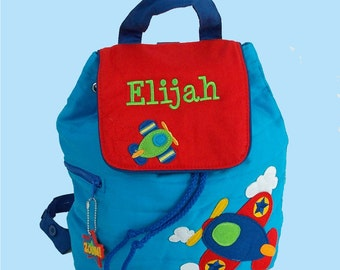 Personalized Stephen Joseph Toddler Backpack AIRPLANE Style In Red and Blue