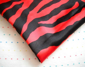 "Red and Black Zebra Print Satin Lining Fabric, 60"" Wide, BTY"