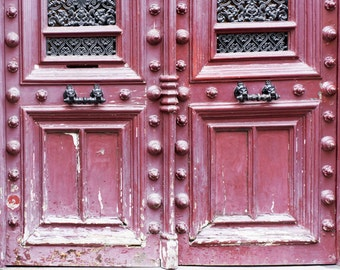 Paris Photography - Maroon Weathered Door, Architecture Photography, Travel Fine Art Photograph, French Home Decor, Large Wall Art