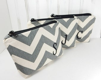Set of 3 Personalized Makeup bag, Wedding, cosmetic bag, Chevron stripes with Initial, bride or bridesmaid gift, custom, made to order