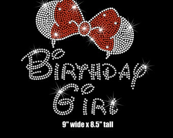 "9"" adult woman's Minnie Mouse ears Birthday girl iron on rhinestone transfer"