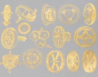 Vintage Gears Ceramic Decals, Glass Decals or Enamel Decals