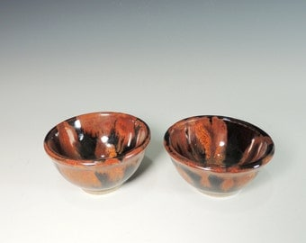 Mini Bowls / Set of 2 in Copper Lava Glaze / High Fired Pottery / Serving / Food Prep / Ring Dish