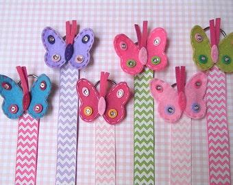 Butterfly Hair Bow Holder Hair clip holder Barrette holder with Polka Dot Ribbon