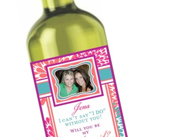 Private Listing for idoredsoxbaby761 Bridesmaid Wine Labels - Modern Flower - Chevron Wine Labels - Bridesmaid Gifts - Maid of Honor Labels