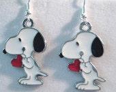Snoopy Holding a Heart Earrings --Choose Clip On or Pierced Backings